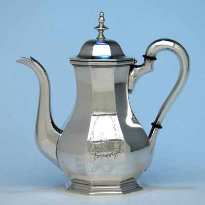 Obadiah Rich & Benjamin Franklin Willard Rare Antique Sterling Silver Coffee Pot, 1846-47