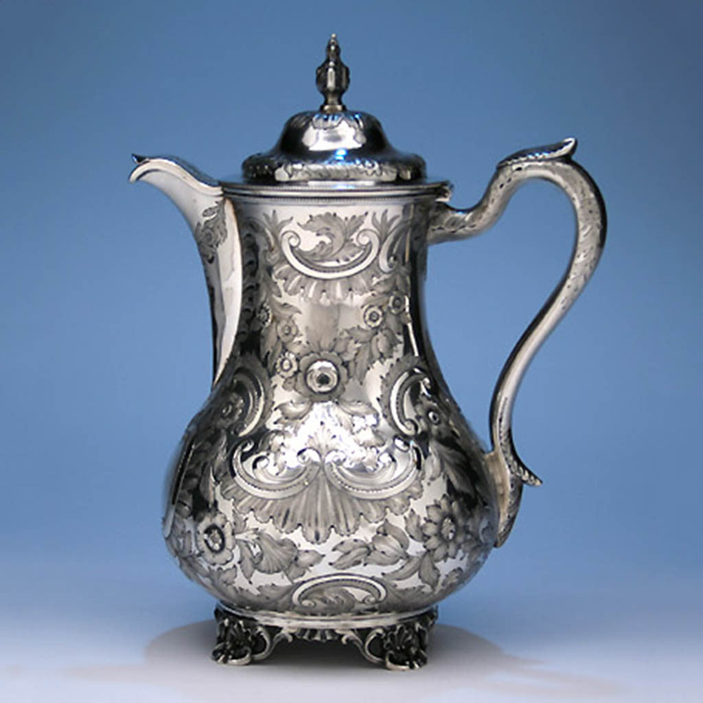 Wood & Hughes - The Pamela and Arthur Hopkins Coin Silver Covered Ewer, Retailed by James Conning, Mobile, Alabama, 1845-52