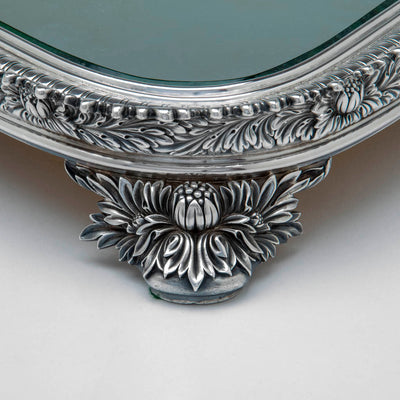 Corner detail on Tiffany and Co Mary Jane Morgan Chrysanthemum Sterling Plateau, NYC, NY, c. 1879