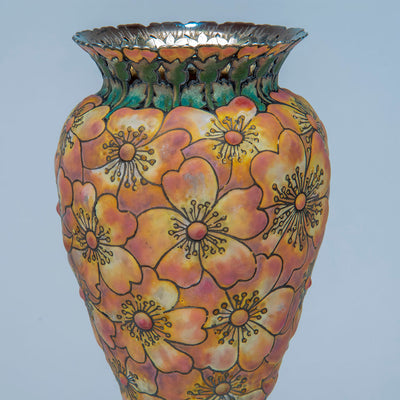 "Delail 1 of Tiffany & Co - The ""Moss-Roses"" Vase, 1893 Columbian Exhibition Sterling Silver and Enamel Vase, design attributed to John T. Curran, c. 1893"