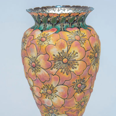 "Detail 2 of Tiffany & Co - The ""Moss-Roses"" Vase, 1893 Columbian Exhibition Sterling Silver and Enamel Vase, design attributed to John T. Curran, c. 1893"