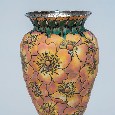 "Detail 3 of Tiffany & Co - The ""Moss-Roses"" Vase, 1893 Columbian Exhibition Sterling Silver and Enamel Vase, design attributed to John T. Curran, c. 1893"