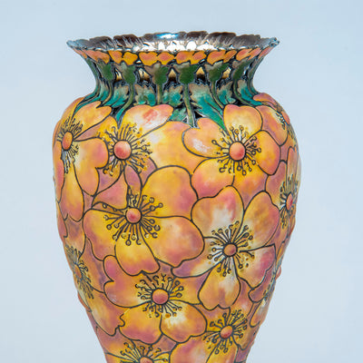 "Detail 4 of Tiffany & Co - The ""Moss-Roses"" Vase, 1893 Columbian Exhibition Sterling Silver and Enamel Vase, design attributed to John T. Curran, c. 1893"