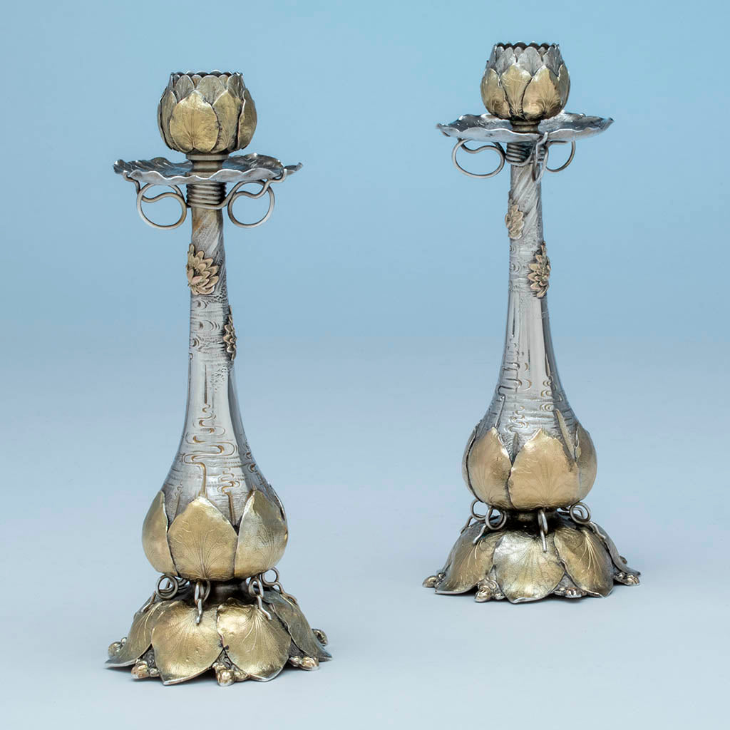 George Shiebler(attr) Aesthetic Antique Sterling Silver and 14k Gold Candlesticks, NYC, c. 1880s
