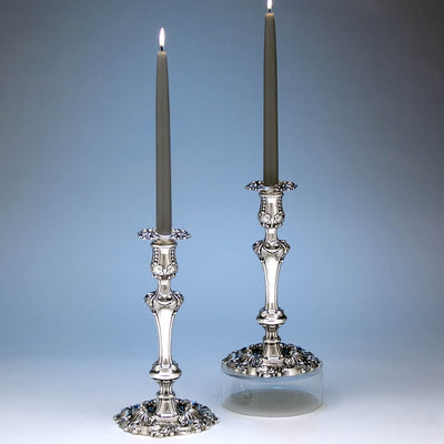 Kirkby, Waterhouse & Co Pair of English Sterling Silver Candlesticks, Sheffield - 1814/15