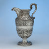 Samuel Kirk 11oz Silver Armorial 'Gilmor' Ewer, Baltimore, c. 1840, bearing the crest of Stone