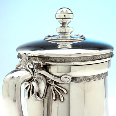 Handle to Tiffany & Co Antique Sterling Silver Covered Pitcher by Edward C. Moore, New York, c. 1865