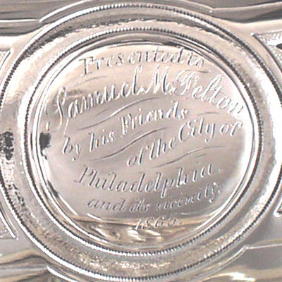 Inscription on George Sharp for Bailey & Co. - The Samuel M. Felton 'Medallion' Sterling Entree Server, c. 1865