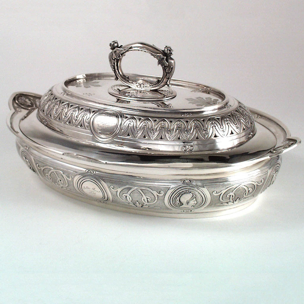 George Sharp for Bailey & Co. - The Samuel M. Felton 'Medallion' Sterling Entree Server, c. 1865