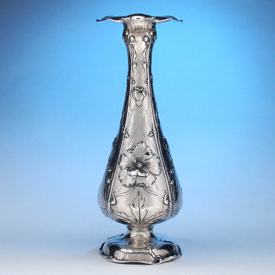 Reed & Barton Extremely Rare Art Nouveau .950 Silver Vase, Providence, RI, c. 1900