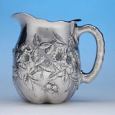 Reverse side of Dominick & Haff Sterling Intaglio Chased Aesthetic Movement Presentation Water Pitcher, c. 1883