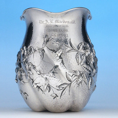 Front of Dominick & Haff Sterling Intaglio Chased Aesthetic Movement Presentation Water Pitcher, c. 1883