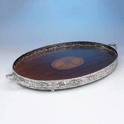 Samuel Kirk & Son, Co., Sterling Repousse Gallery Tea Tray, Baltimore, MD, c. 1900