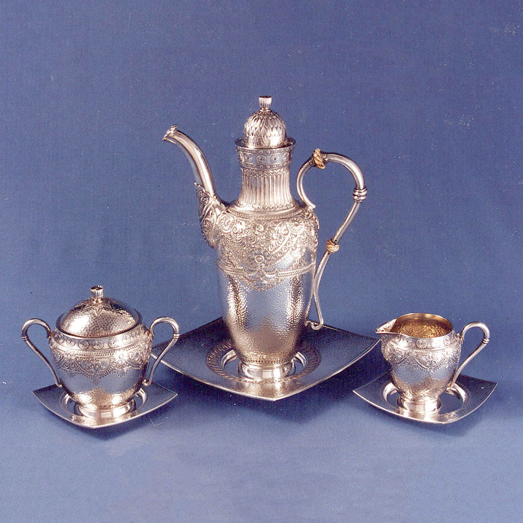 Gorham Antique Sterling Silver Aesthetic Movement Black Coffee Service, Providence, RI, 1883