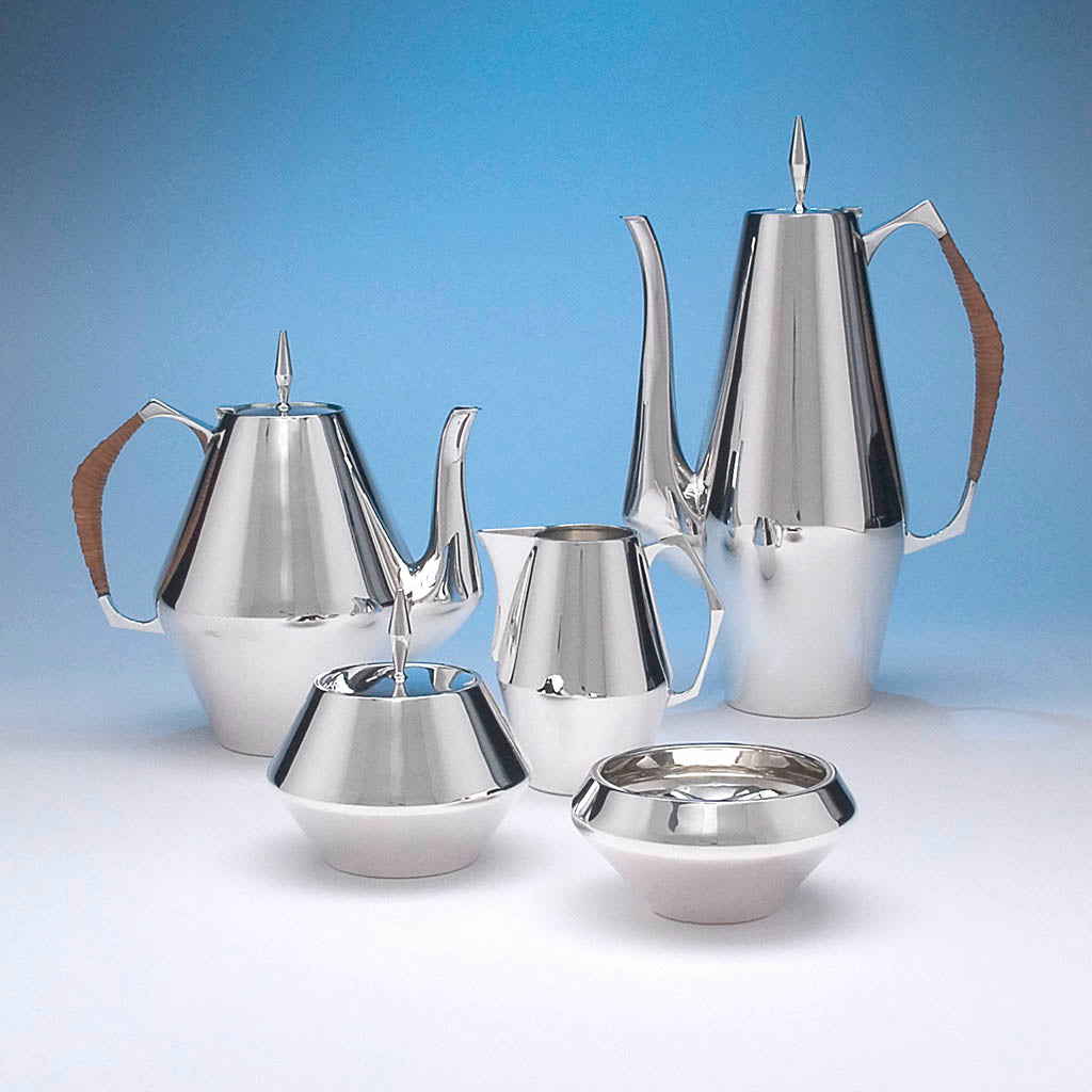 Reed & Barton 'The Diamond' Pattern Sterling Silver Coffee and Tea Service, c. 1960's