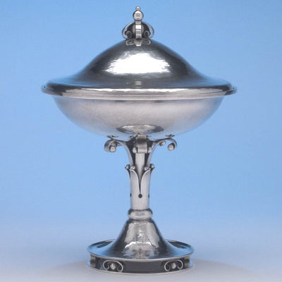 Joel F. Hewes Sterling Silver Covered Compote, Titusville, PA, c. 1927, probably exhibited at the Boston Society of Arts & Crafts 1927 Tricennial Exhibition