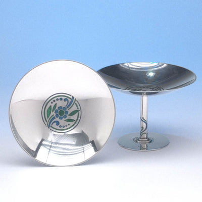 Tiffany & Co Pair of Art Deco Sterling Silver and Enamel Compotes, New York City, 1937-47
