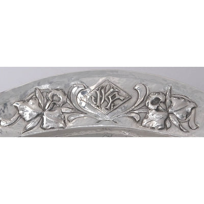 Monogram on Clemens Friedell Sterling Silver Meat Platter, Pasadena, CA,  c. 1920