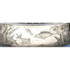 Fish scene on Gorham Sterling Silver Japanesque 'Special Order' Centerpiece Bowl, Providence, RI, 1879