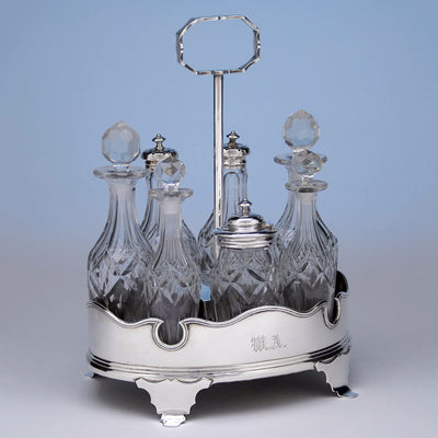 Angle view of Obadiah Rich Coin Silver Cruet Set, Boston, MA, c. 1840's
