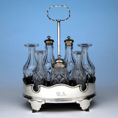 Obadiah Rich Coin Silver Cruet Set, Boston, MA, c. 1840's