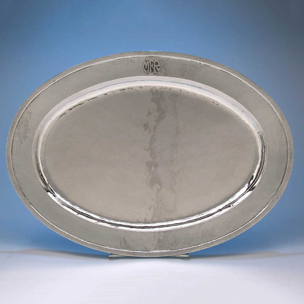 Robert Sturm Hand Wrought Sterling Silver Platter, Cincinnati, OH, Early 20th century