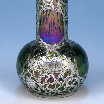Detail of the Loetz Glass with Silver Overlay Vase, c. 1900