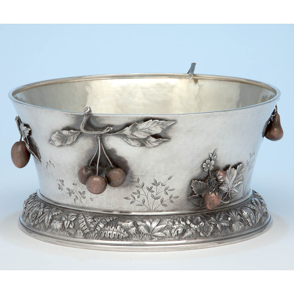 Whiting Manufacturing Company Antique Sterling Silver and Mixed Metal Aesthetic Movement Centerpiece Bowl, New York, NY, c. 1880