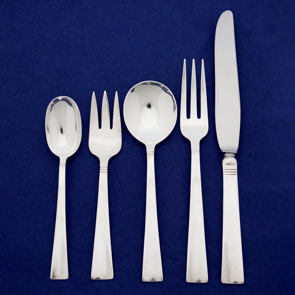 Allan Adler 'Sunset' Pattern Mid-Century Modern Sterling Silver Flatware Service for 12, Los Angeles, California, c. 1950's