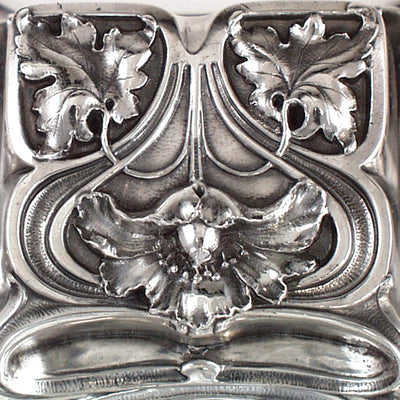 Cover to Gorham Art Nouveau Antique Sterling Silver 'Poppy' Inkwell, Providence, RI, c. 1900