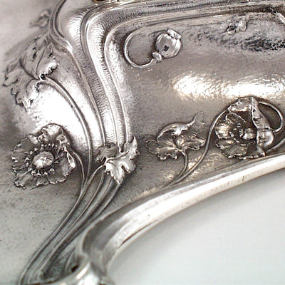 Detail of Gorham Art Nouveau Antique Sterling Silver 'Poppy' Inkwell, Providence, RI, c. 1900