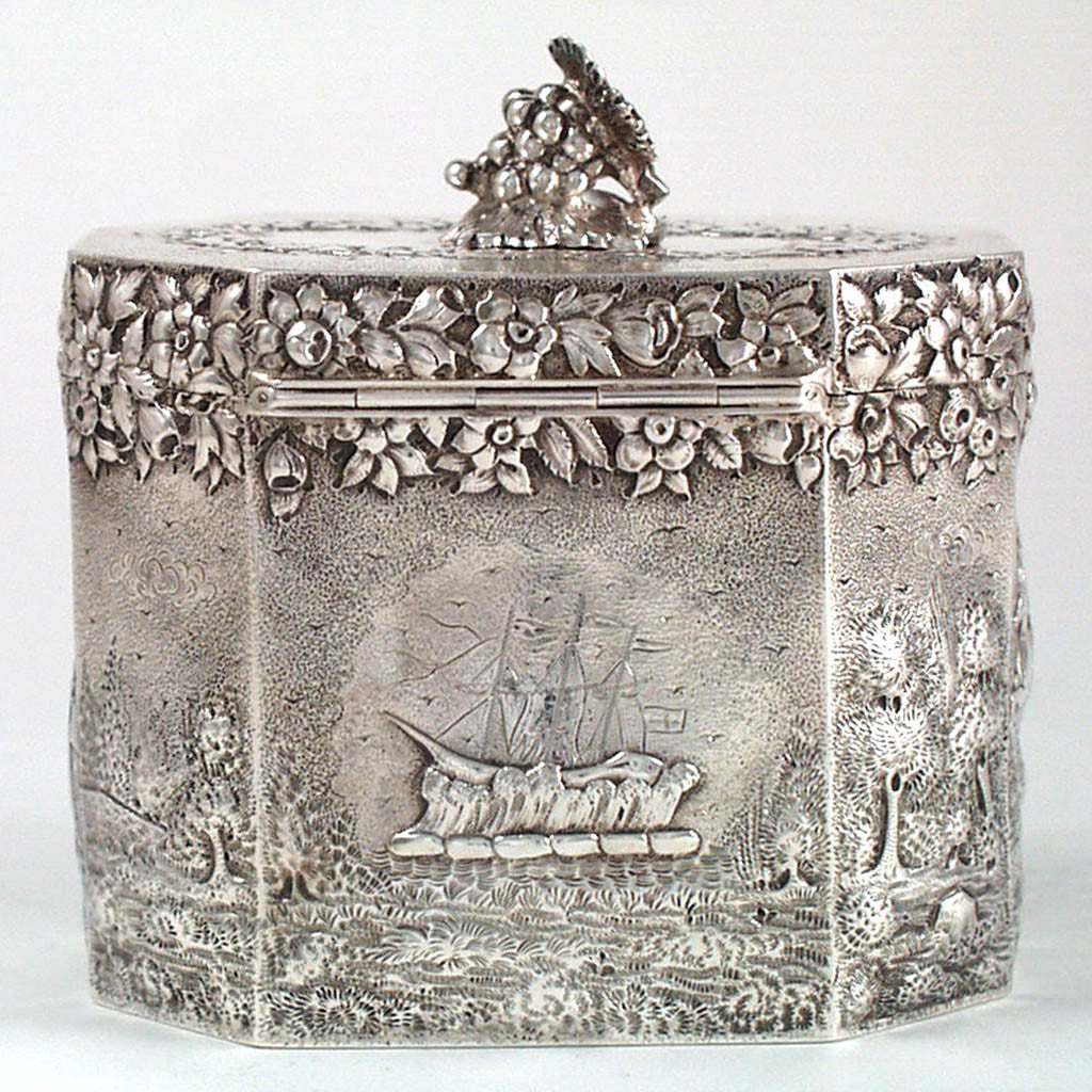 Peter Krider Sterling Repousse Tea Caddy with Scenic Decoration, Philadelphia, PA, c. 1870's