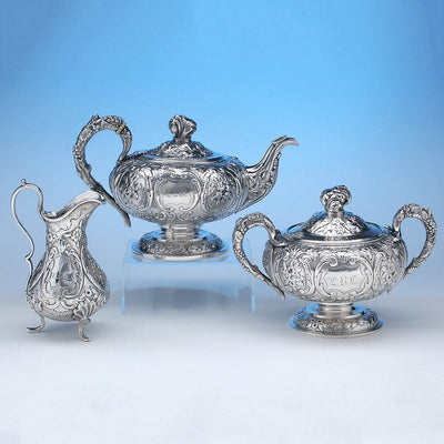 Reverse of Obadiah Rich 3-piece Coin Silver Tea Set, Boston, c. 1840's, retailed by Newell Harding & Co.