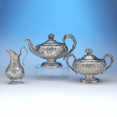 Obadiah Rich 3-piece Coin Silver Tea Set, Boston, c. 1840's, retailed by Newell Harding & Co.