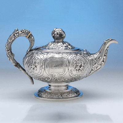 Pot detail of Obadiah Rich 3-piece Coin Silver Tea Set, Boston, c. 1840's, retailed by Newell Harding & Co.