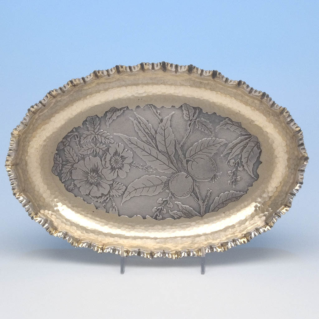 Wood & Hughes Antique Sterling Silver Aesthetic Serving Dish, New York City, c. 1880