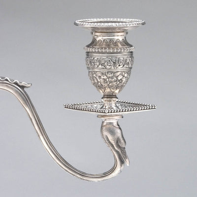 Arm detail of Tiffany & Co Pair of Antique Sterling Silver Five-light Candelabra, New York City, c. 1880