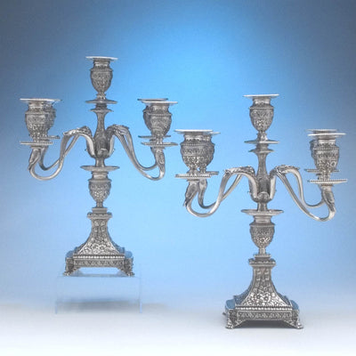 Tiffany & Co Pair of Antique Sterling Silver Five-light Candelabra, New York City, c. 1880