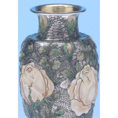 Enamel on Tiffany & Co - The 'Wild-Rose Vase', 1893 Columbian World's Fair Sterling Silver and Enamel Vase