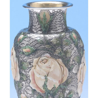 Multi-colored enamel on Tiffany & Co - The 'Wild-Rose Vase', 1893 Columbian World's Fair Sterling Silver and Enamel Vase