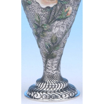 base of Tiffany & Co - The 'Wild-Rose Vase', 1893 Columbian World's Fair Sterling Silver and Enamel Vase