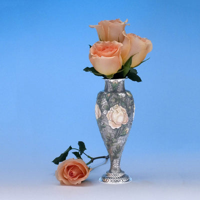 Tiffany & Co - The 'Wild-Rose Vase', 1893 Columbian World's Fair Sterling Silver and Enamel Vase