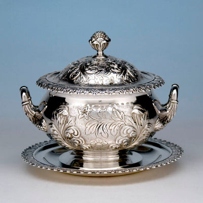 J. B. Jones Coin Silver Covered Sauce Tureen with Stand, Boston, c. 1830