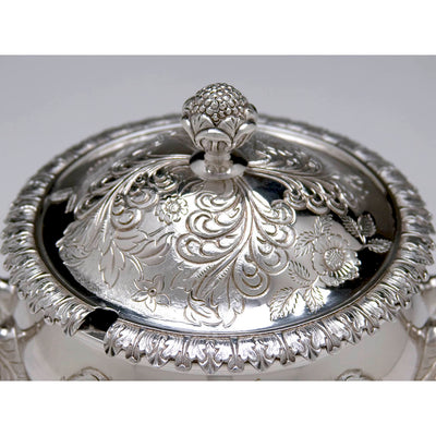 Top detail of the J. B. Jones Coin Silver Covered Sauce Tureen with Stand, Boston, c. 1830