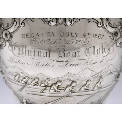 Inscription on Wood & Hughes Coin Silver Rowing Trophy, New York City, 1867