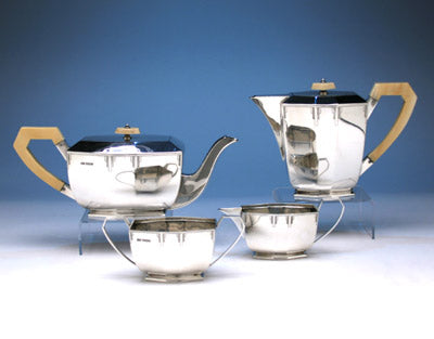 English Art Deco Sterling Silver Coffee and Tea Service, Emile Viners, Sheffield, 1938/39