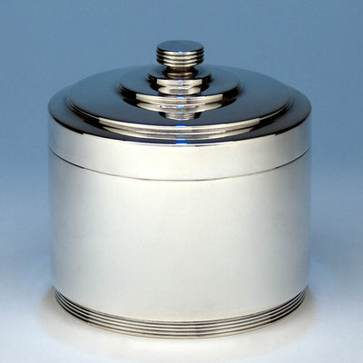 Goldsmiths & Silversmiths Company English Sterling Silver Deco Biscuit Box, London, 1938-39, design attributed to A. E. Harvey