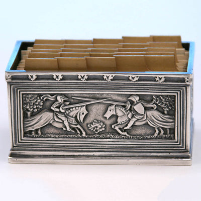 Jousting scene on Tiffany & Co. Cast Sterling Silver Card Holder, New York City, c. 1920's