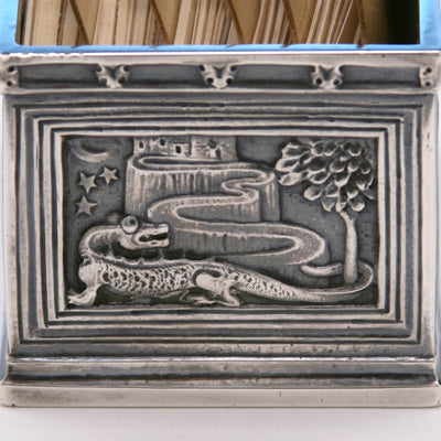 Alligator on Tiffany & Co. Cast Sterling Silver Card Holder, New York City, c. 1920's
