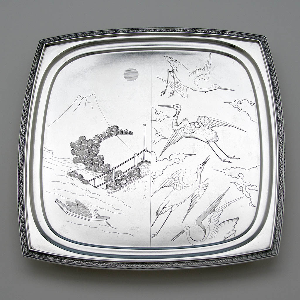 Tiffany & Co Aesthetic Movement Antique Sterling Silver Japonesque Salver, New York City, 1874